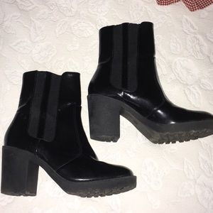 H&M Black Patent Ankle Boots